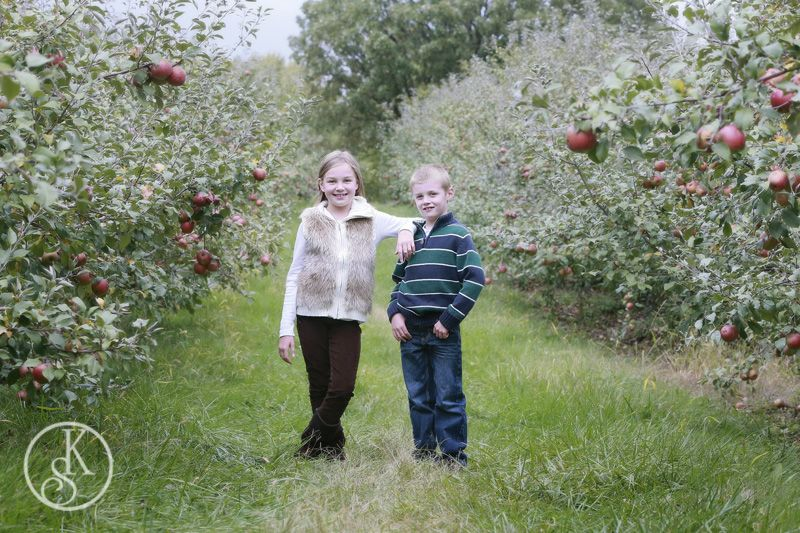 Family on location orchard