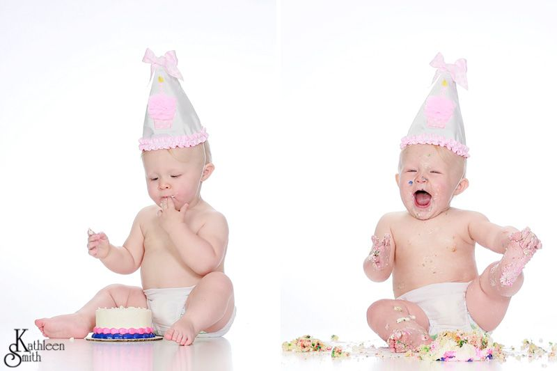 Studio baby girl with cake