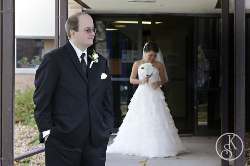 bride and groom first look