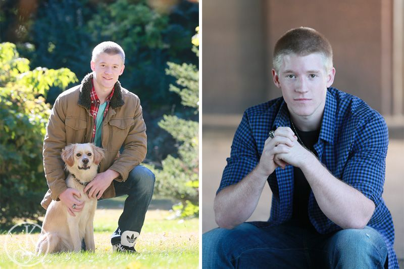 high school graduate on location with dog
