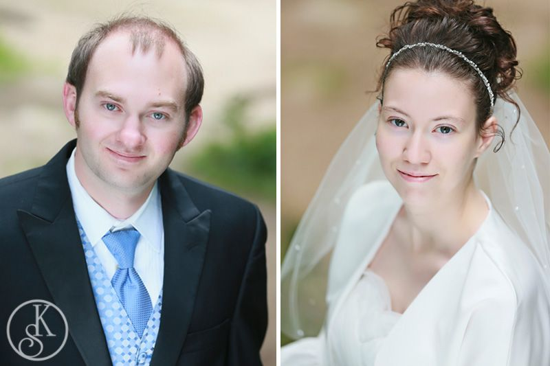 formal head shot of bride and groom