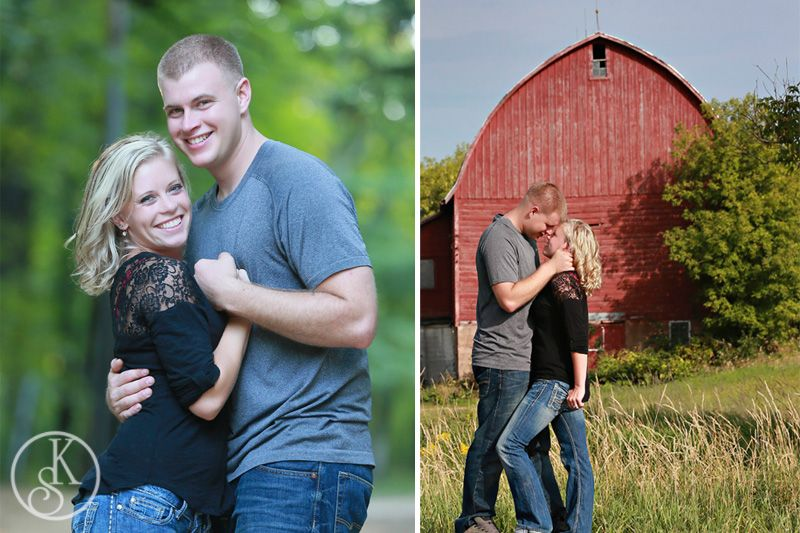engagement couple by barn
