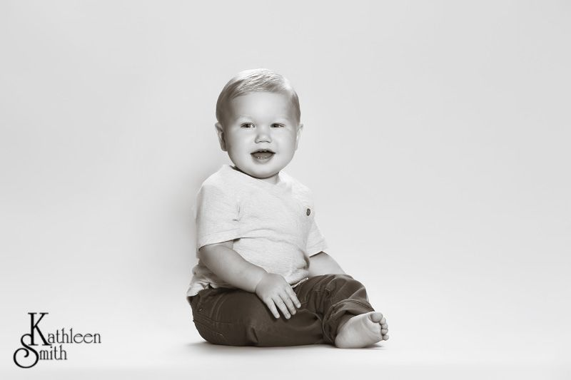 Baby boy in studio black and white