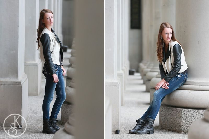 high school graduate on location leather jacket by columns