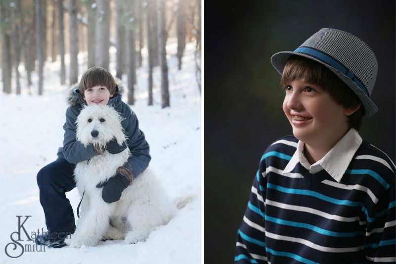Boy in studio and on location with dog